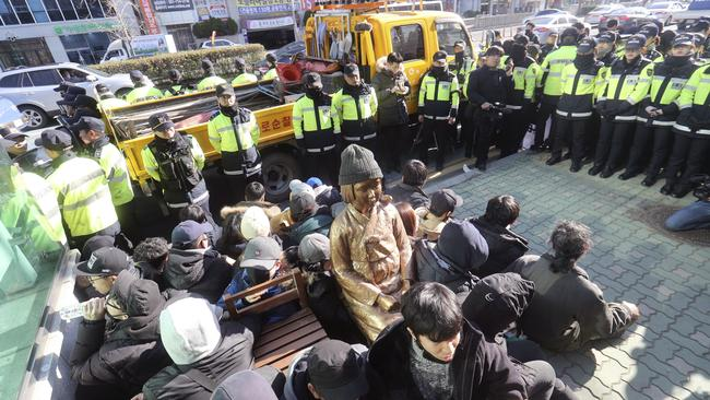 Japan is recalling its ambassador in response to the placing of the statue. Many Koreans and other women in Asia were forced to work in brothels for the Japanese military during World War II in what was called the 'comfort-woman' system. Picture: Kim Sun-ho/Yonhap via AP