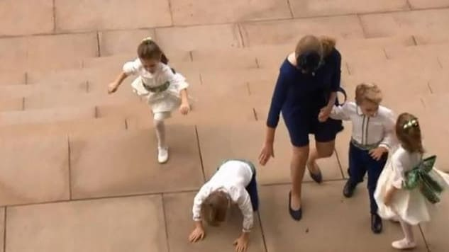 Lady Louise Windsor was in charge of getting the young bridal party into the church.