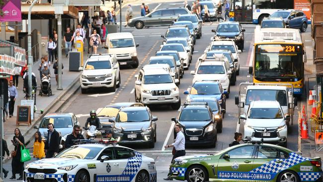 Some of the CBD's busiest streets were blocked off during morning peak hour.