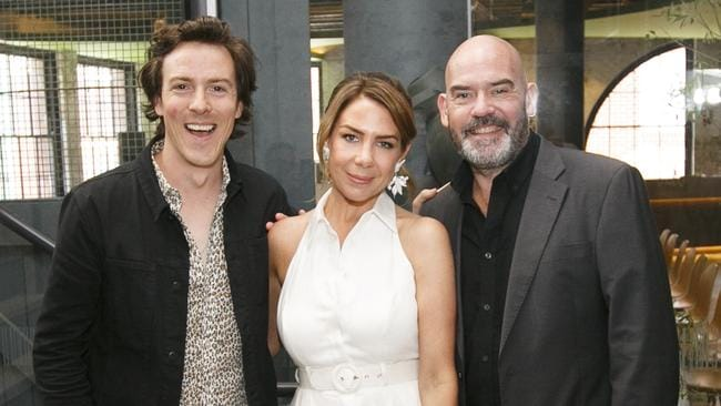 Tim Blackwell, Kate Ritchie and Marty Sheargold say a US radio show has stolen one of their popular segments. Picture: Tim Pascoe