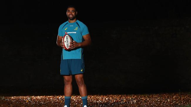 Wallabies lock Lukhan Tui poses for a portrait at Sport Wales in Cardiff.