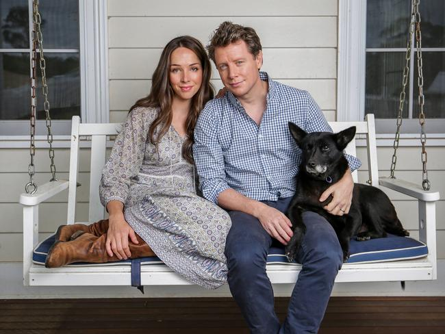 Barefoot Investor Scott Pape with his wife, Liz, at their farm in rural Victoria. Picture: Nicole Cleary