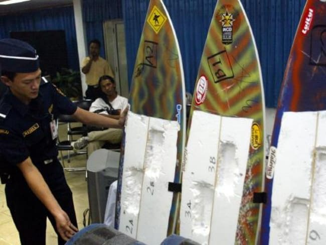 The smuggled cocaine in surfboards. Picture: AP