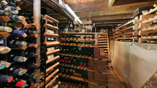 The home has a large wine storage area.