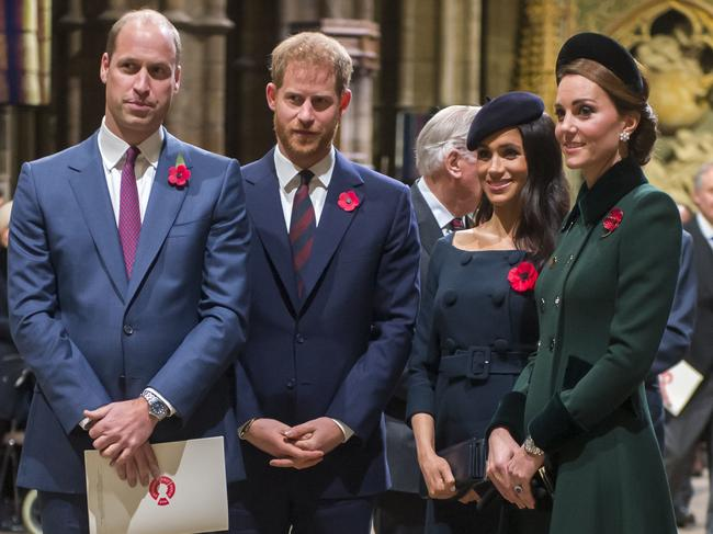 William, Harry, Meghan and Kate were pictured together earlier this month at a National Service to mark the centenary of the Armistice. Picture: Paul Grover/AP