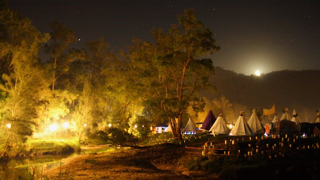 Camping tepee-style at Peats Ridge. Picture: Supplied
