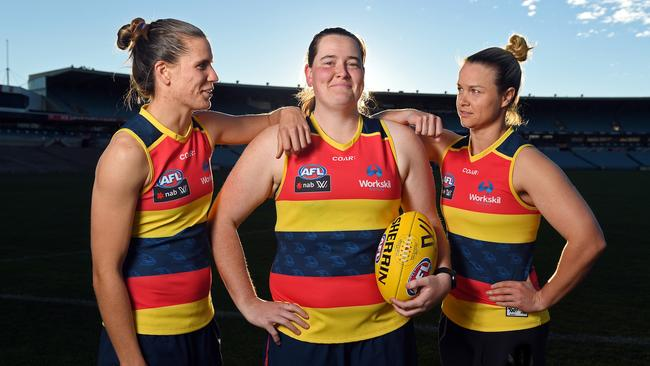 helsea Randall (Allies), Sarah Perkins (Victoria) and Courtney Cramey (Allies) will take part in the AFLW State of Origin this weekend. Picture: Tom Huntley