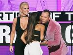 Singer Ariana Grande (C) accepts Artist of the Year from actors Jenny McCarthy and Donnie Wahlberg onstage during the 2016 American Music Awards at Microsoft Theater on November 20, 2016 in Los Angeles, California. Picture: Getty