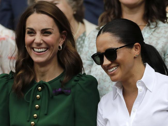The royal sister-in-laws appeared to be having a great time. Picture: AP