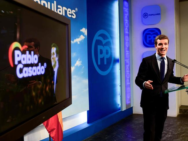Spanish People's Party (PP) president Pablo Casado holds a press conference at the PP headquarters in Madrid. Picture: Gabriel Bouys