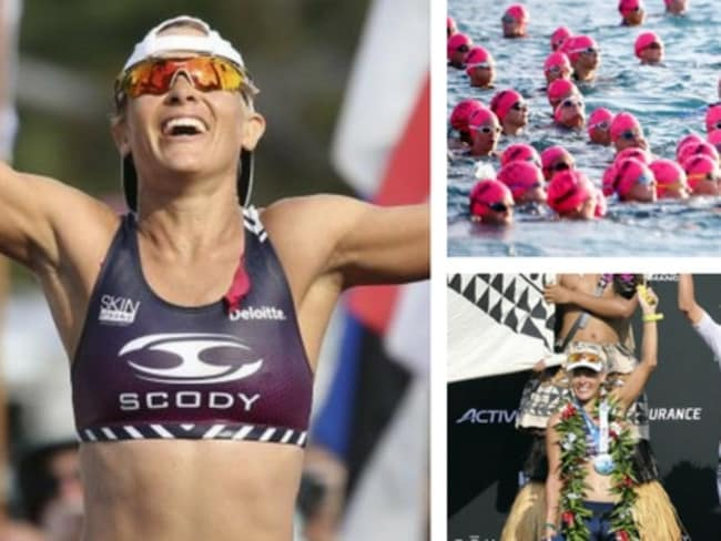 Sarah Crowley crashed during the Hawaii ironman triathlon but recovered to claim a bronze medal.