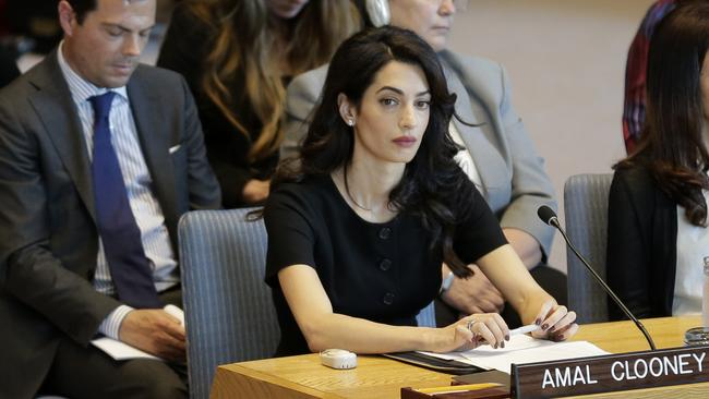 Amal Clooney said the UN was facing its 'Nuremberg moment'. Picture: AP Photo/Seth Wenig