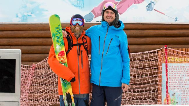 Skier Sam Smoothy and filmmaker William Lascelles at Kim Jong-un's ski resort. Picture: CoLab Creative