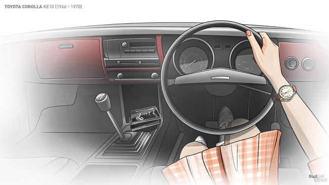 1966 Toyota Corolla interior.