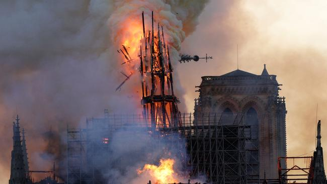 A huge fire swept through the roof of the famed cathedral on April 15. Picture: Geoffroy Van Der Hasselt/AFP