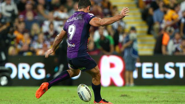 Cameron Smith nails home a matchwinning field goal against the Cowboys.