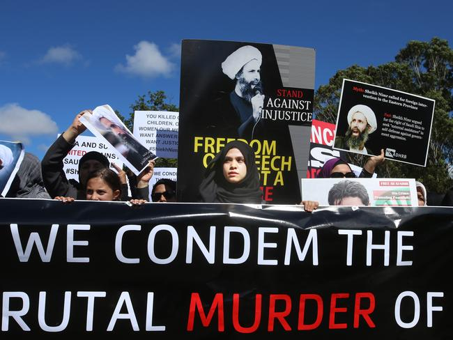 File photo showing protesters outside the Saudi Embassy in Canberra after the execution of Sheik Nimr al-Nimr in 2016. Picture Gary Ramage