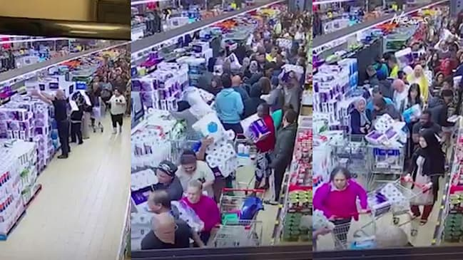 Crazy video shows shoppers mad grab for toilet paper at Aldi store