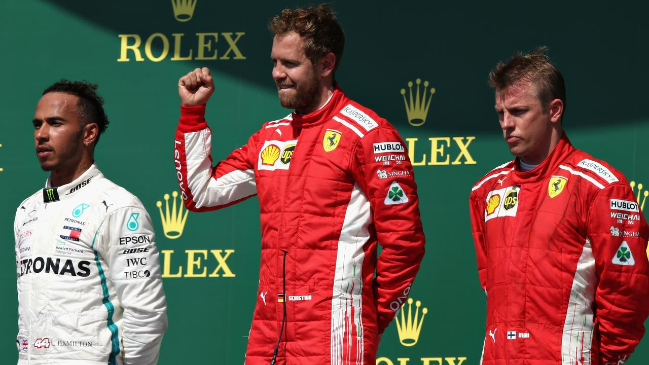 Hamilton, Vettel and Raikkonen on the podium.