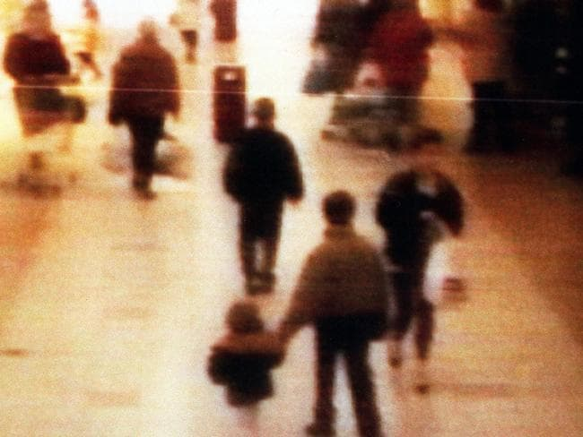 Surveillance camera footage of the abduction of James Bulger from the Bootle Strand shopping mall in February 1993. Picture: Getty