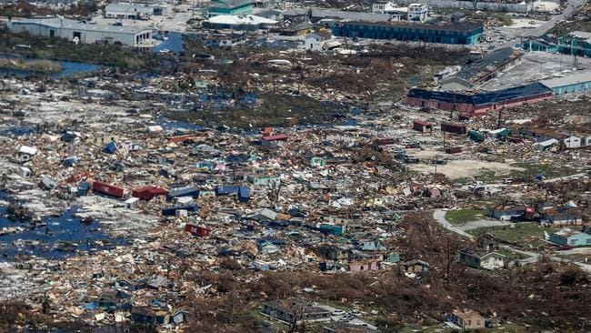 An aerial view of floods and damages from Hurricane Dorian on Great Abaco Island. Picture: AFP
