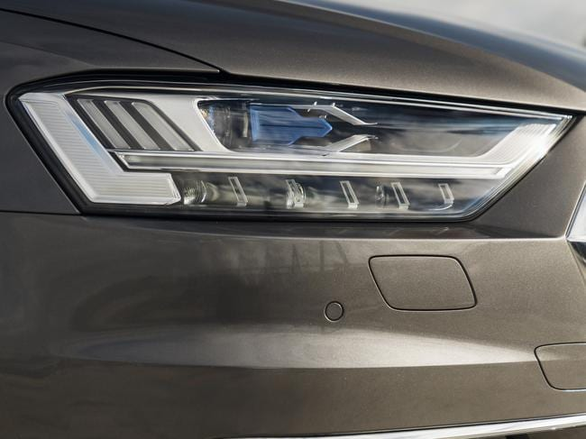 The A8's matrix LED/laser headlamps, along with full-width OLED rear lamps, add $13,200.