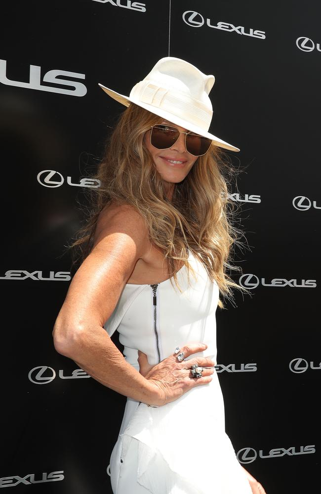 Elle Macpherson poses at the Lexus Marquee on Derby Day at Flemington Racecourse. Picture: Scott Barbour/Getty Images