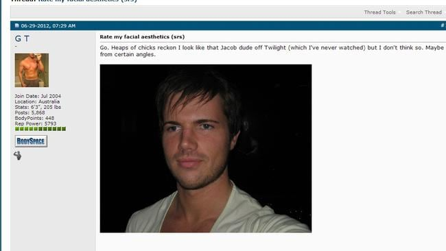 Gable Tostee's bodyspace page was full of boasts about his exploits with women, who he connected with via Tinder after being banned from nightclubs on the Gold Coast.
