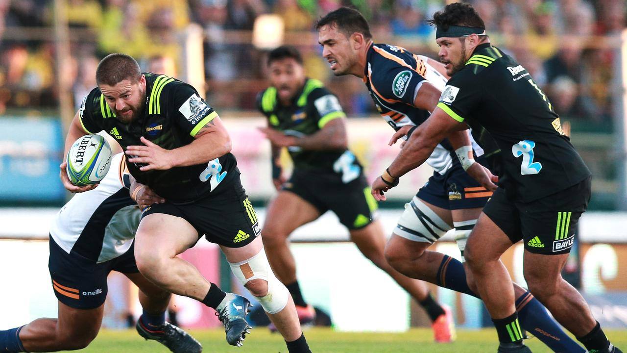Dane Coles of the Hurricanes breaks away for a try at Central Energy Trust Arena in Palmerston North.