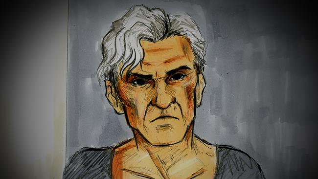 A court sketch of former AFL player and coach Dani Laidley during a bail hearing at Melbourne Magistrates Court on May 11, 2020. Picture: AAP Image/Nine News