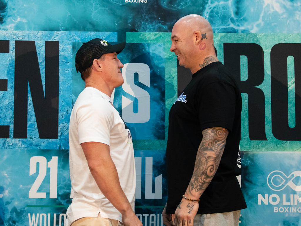 Paul Gallen and Lucas Browne face off at WIN Stadium. Photo: Narelle Spangher, TSE
