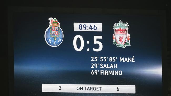 The scoreboard as Liverpool smashed Porto