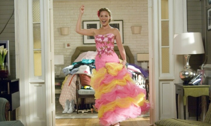 "<b>27 DRESSES</b>: We all know being a bridesmaid isn't the most glamorous job in the world – but Katherine Heigl brings that hell into a whole new light. ""I could watch 27 dresses over and over again (mostly for the hideous bridesmaids dresses!). The premise is so stupid, but it's just so damn watchable with a love / hate relationship at the core,"" said Mel. Source: Spyglass Entertainment"