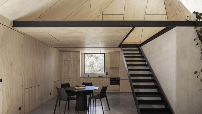 Yandoit Cabin by Adam Kane Architects (Vic) was conceived as a sculptural and contemporary form within the landscape. Picture: Adam Kane Architects