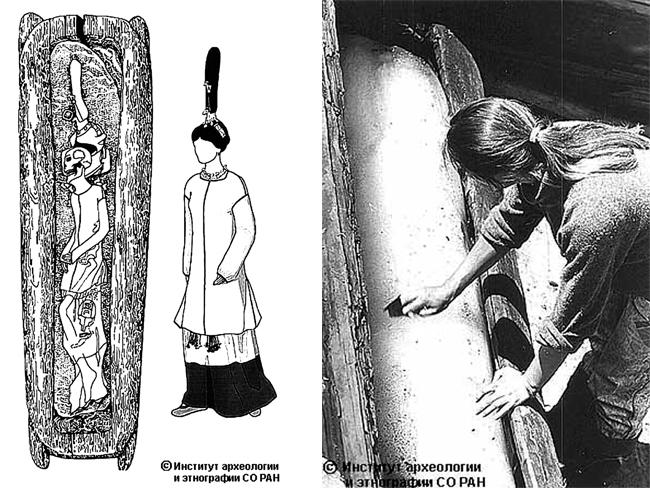 The princess' coffin, made from a hollowed-out tree, was lengthened to allow space for her dramatic head dress. Picture: Siberian Times