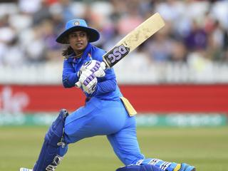 India's Mithali Raj during the ICC Women's World Cup fixture at the County Ground, Derby, England. Saturday June 24, 2017. (Nigel French/PA via AP)