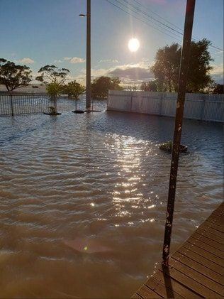 Floodwaters rising in Birchip this morning. Picture: Linda Goodman