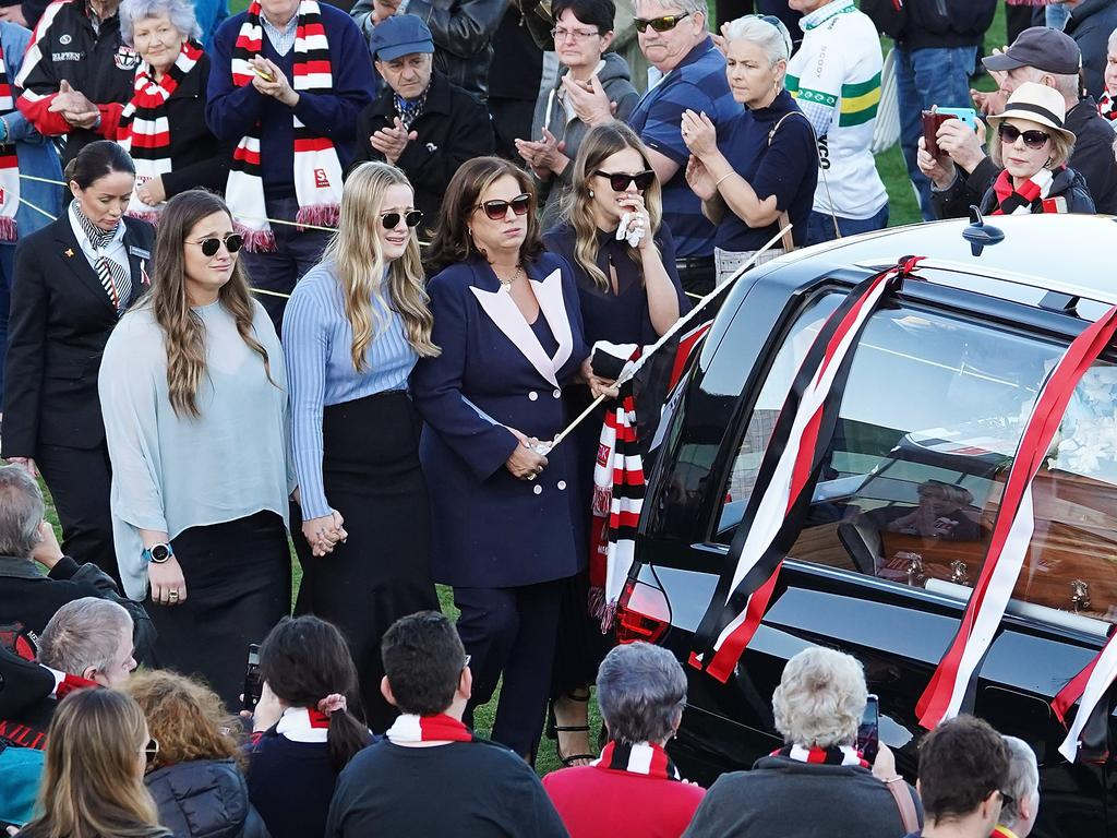 Wife Anita Frawley and daughters Keeley, Danielle and Chelsea are seen during a celebration to honour the life of Danny Frawley held at RSEA Park in Melbourne, Wednesday, September 18, 2019. Frawley, a former AFL player and coach, was killed in a car accident last week. (AAP Image/Stefan Postles) NO ARCHIVING