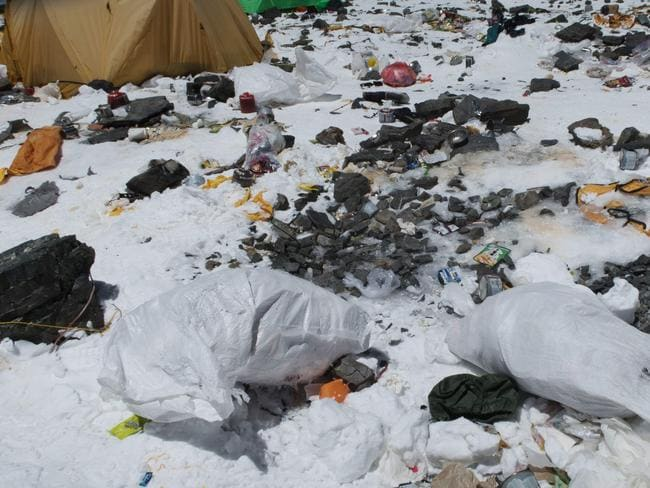 More rubbish is being exposed as glaciers melt. Picture: Damian Benegas