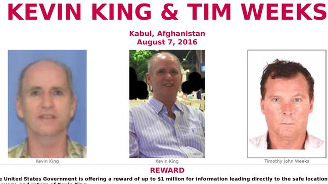 FBI released this image in 2016 of Australian hostage Timothy Weeks (right) and Kevin King.