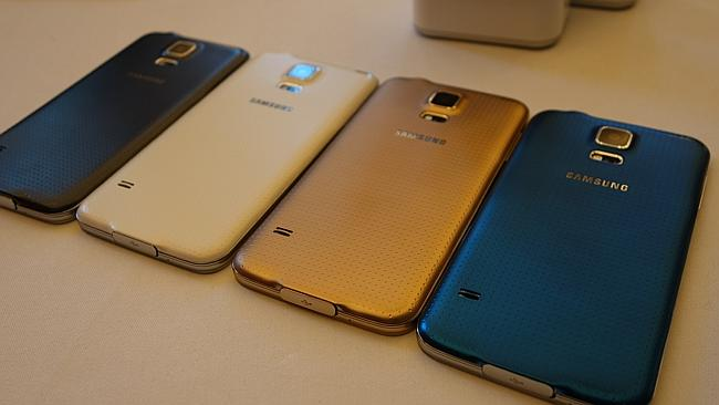 The new Galaxy S5 colour range. Picture: Harry Tucker.