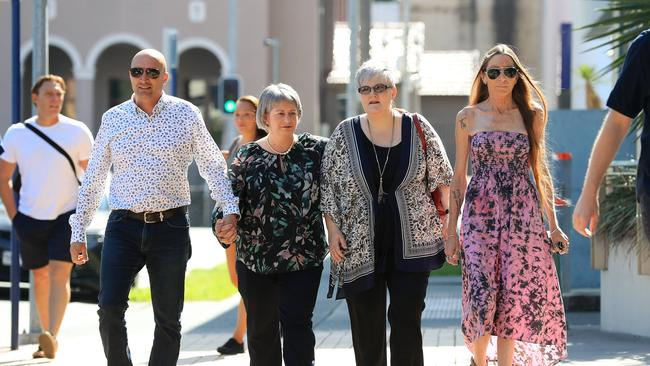 Tamborine Mountain High School parents Donna and Miguel Baluskas, Laura Lawson and Trudie Arnold arrive at Southport court on Friday. Picture: Adam Head