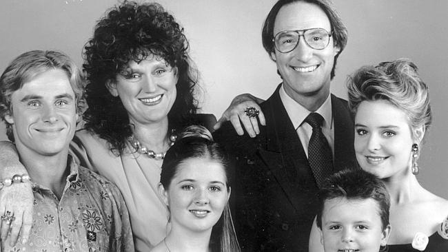 Public face betrayed the truth ... The Hey Dad! cast in 1992 (from left) Ben Oxenbould, Julie McGregor, Sarah Monahan, Robert Hughes, Mathew Krok and Rachael Beck.