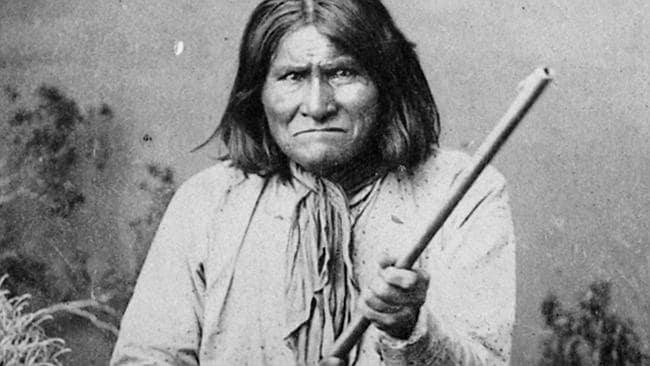 This 1887 photograph shows famous Indian warrior Geronimo, a Chiricahua Apache, posing with a rifle. Picture: AP Photo/National Archives, Ben Wittick