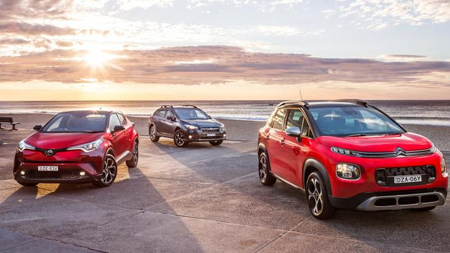 Head turners: The Toyota C-HR, Subaru XV and Citroen C3.