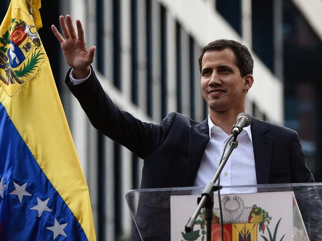 Venezuela's Juan Guaido waves to the crowd. Picture: Federico Parra