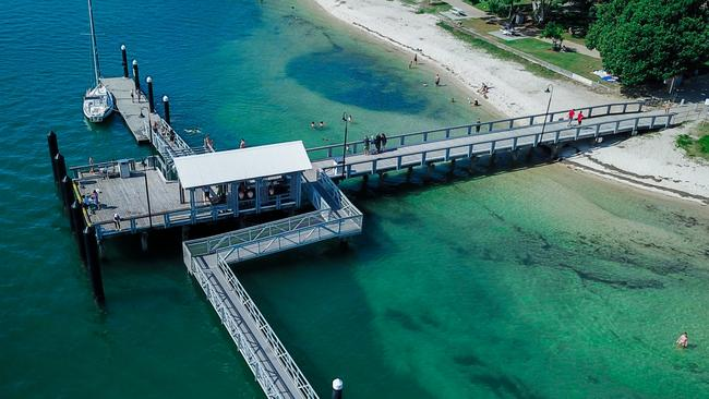 A beautiful aerial shot of the Bribie Island jetty. PICTURE: Maykala Griggs