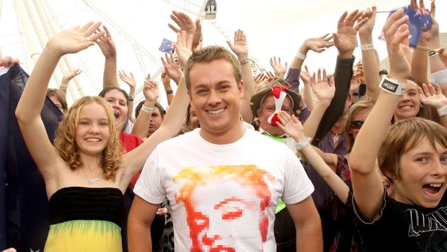 Busy schedule ... Grant Denyer with Brisbane hopefuls at the Australia's Got Talent auditions in 2010.