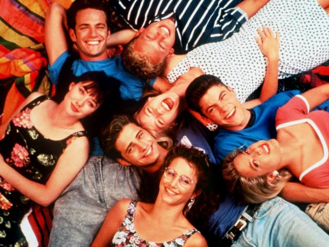 The cast of Beverly Hills, 90210: Clockwise from top, Iain Ziering, Jenni Garth, Brian Austin Green, Tori Spelling, Gabrielle Carteris, Jason Priestley, Shannen Doherty and Luke Perry.