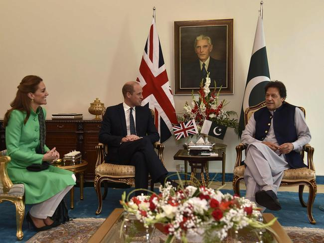 The couple met with Imran Khan, who was a close friend of Princess Diana's. Picture: AFP